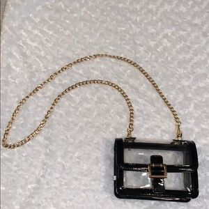 Handbags - Clear Purse with Gold Chain